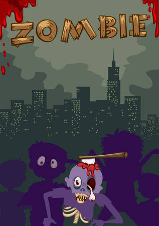 ghost town: Zombie with axe on head illustration