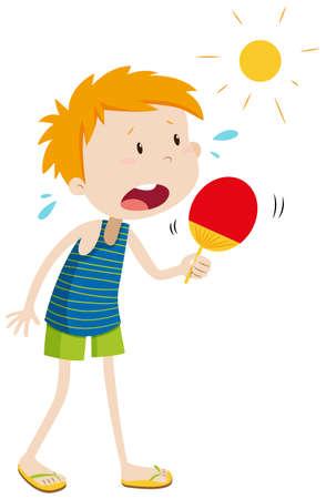 meteo: Ragazzo in piedi al sole illustrazione Vettoriali