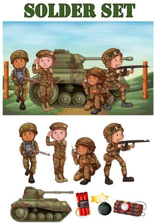 cartoon soldat: Soldaten mit Gewehr im Bereich Illustration Illustration