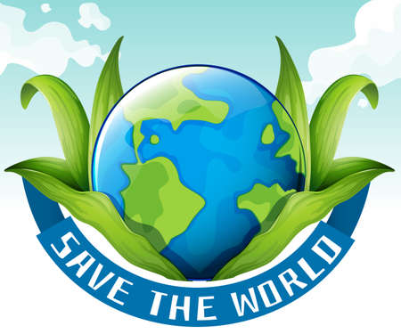 Save the world theme with earth and leaves illustration