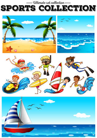water sports: People doing water sports and beach scences illustration