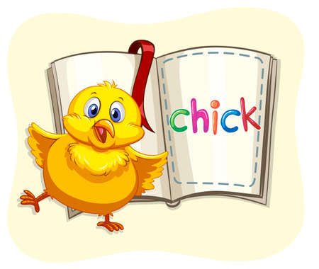 chick: Little chick and a book illustration