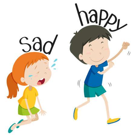 petite fille triste: En face la triste illustration et heureux adjectif