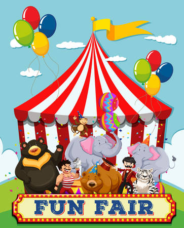 amusement park rides: People and animals at the fun fair illustration