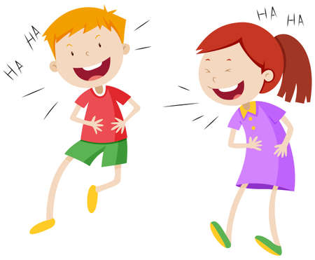 Happy boy and girl laughing illustration Çizim
