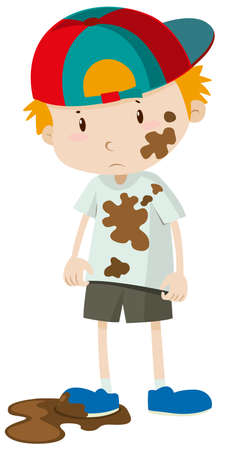 dirty clothes: Little boy wearing dirty clothes illustration