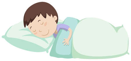 毛布の図の下で眠っている小さな男の子  イラスト・ベクター素材
