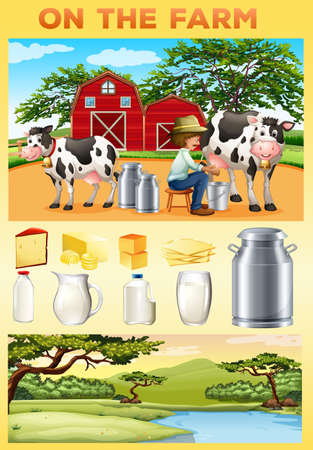 dairy products: Farm theme with farmer and dairy products illustration
