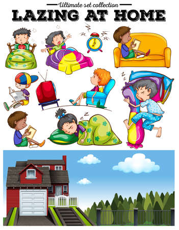 home clipart: Boys and girls resting at home illustration