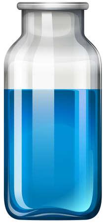 mixtures: Blue liquid in glass bottle illustration