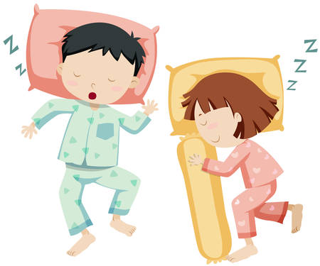 little girl child: Boy and girl sleeping side by side illustration