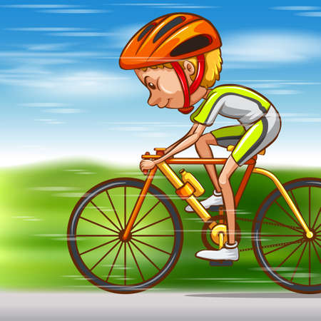 man working out: Man riding bike on the road illustration