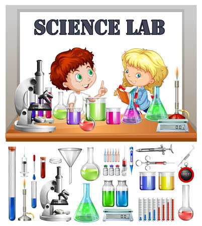 equipo: Los niños que trabajan en la ilustración laboratorio de ciencias