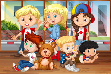 multiple ethnicities: Children hanging out in the room illustration Illustration