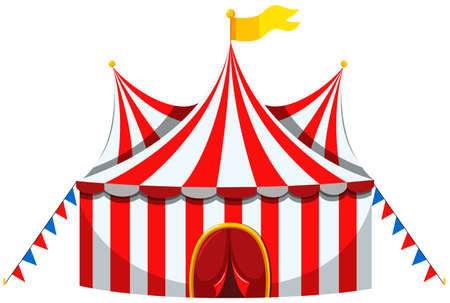 amusement park rides: Circus tent in red and white striped illustration Illustration