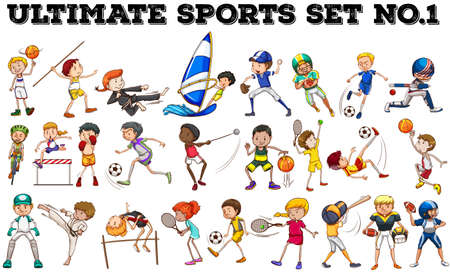 group of objects: Boys and girls doing different sports illustration