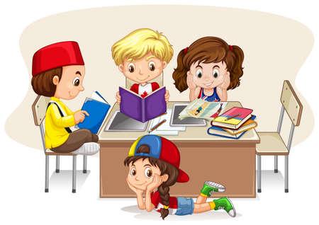 estudiando: Los niños que estudian en la ilustración aula