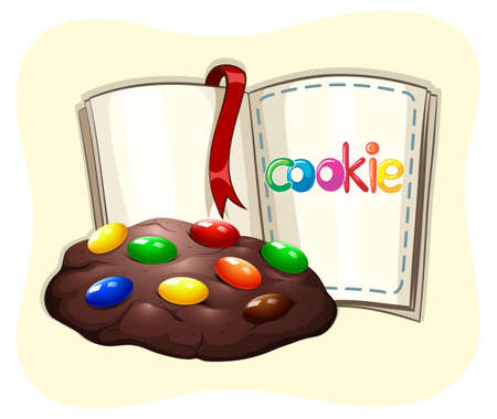 chocolate cookie: Chocolate cookie and a book illustration Illustration