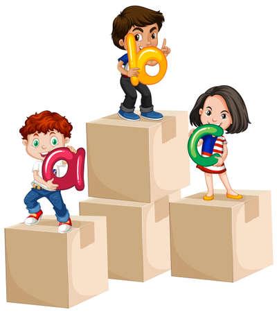 ethnicity happy: Children holding alphabets on boxes illustration Illustration