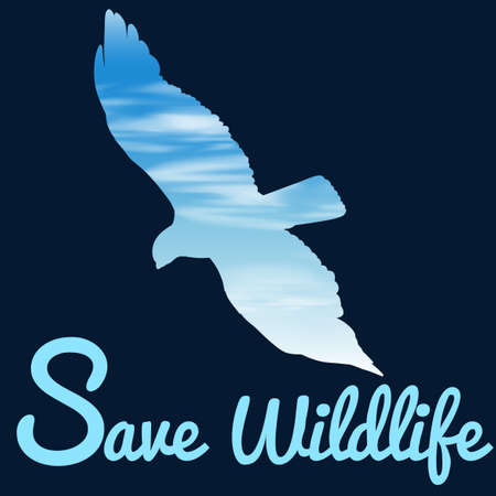 wildlife: Save wildlife theme with bird flying illustration Illustration