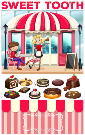 People at the bakery shop illustration
