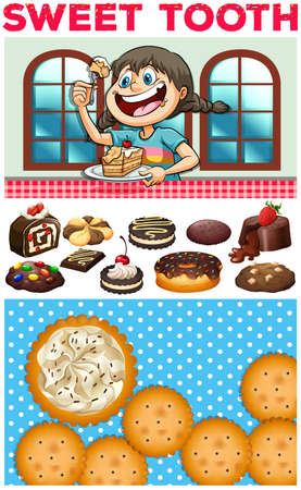 small group of object: Girl eating dessert on table illustration