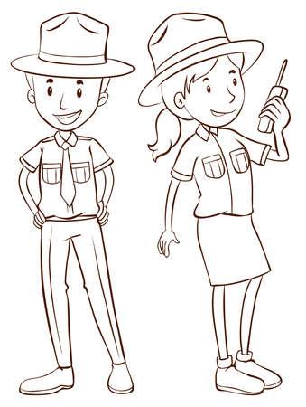 rangers: Male and female park rangers illustration Illustration