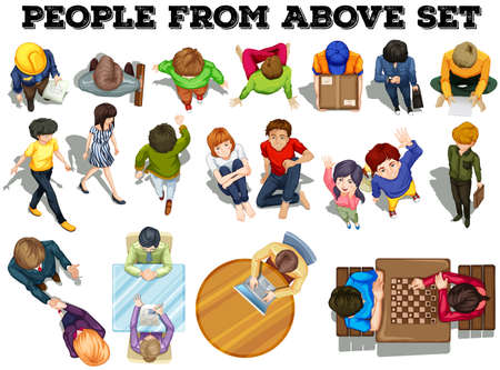 people standing: People from the top view illustration