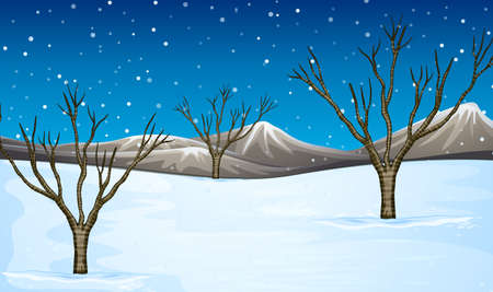 snow field: Field covered with snow illustration
