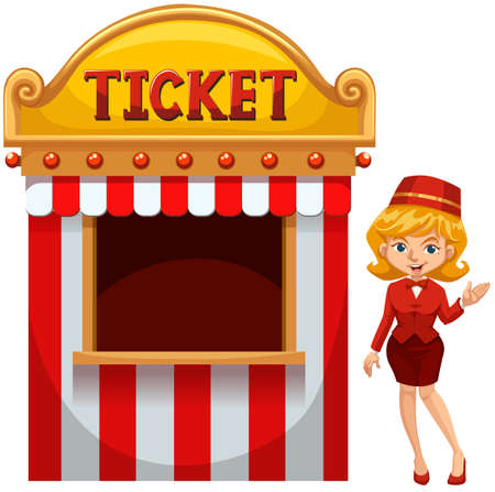 Woman selling ticket at the booth illustration
