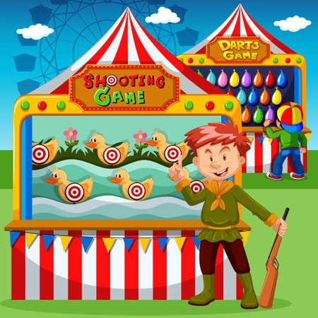 tiro al blanco: puestos de juegos en la ilustración de carnaval
