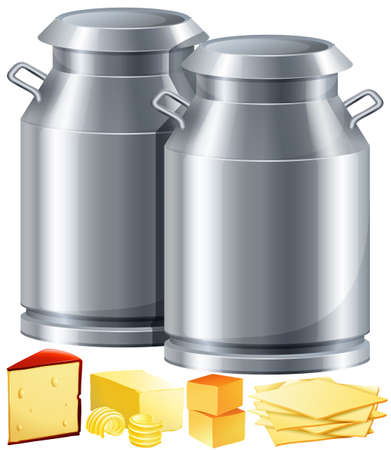 milk cheese: Dairy products with milk and cheese illustration