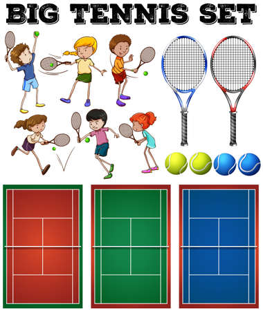 playing games: Tennis players and courts illustration