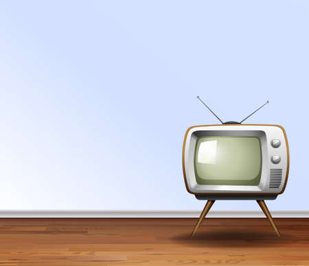 old television: Old television in the room illustration Illustration