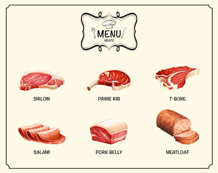 Different kind of meat products illustration Illustration