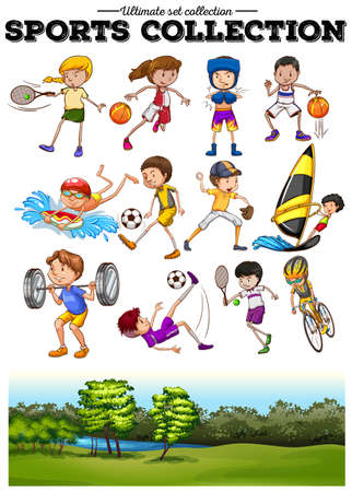 sport cartoon: Diverse sport set and green field illustration