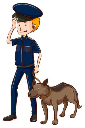 police dog: Policeman and police dog illustration Illustration