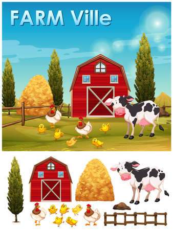 farm cartoon: Farm animals in the farm illustration Illustration