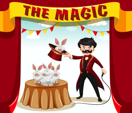 magic show: Magic show with magician and rabbits illustration