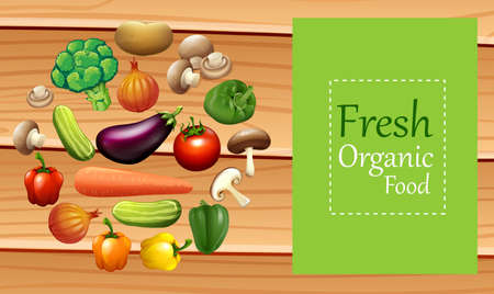 organic peppers sign: Mixed vegetables on poster illustration Illustration
