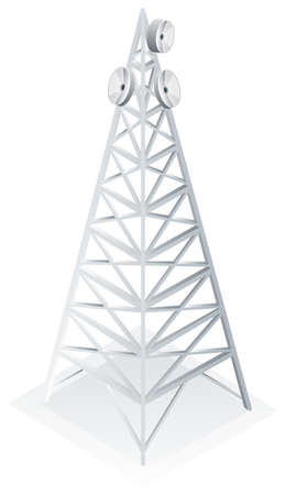 ling: Power tower with satellite dish illustration Illustration