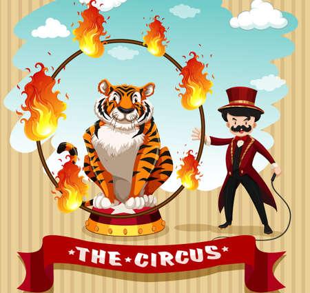 brandweer cartoon: Tijger in brand hoepel en de ring meester illustratie Stock Illustratie