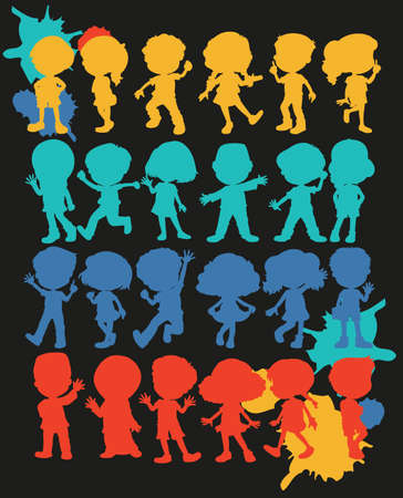 young students: Silhouette boys and girls illustration Illustration