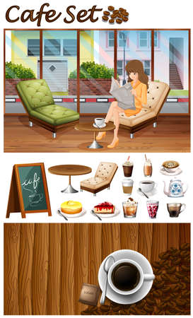 hanging woman: Woman hanging out in the cafe illustration