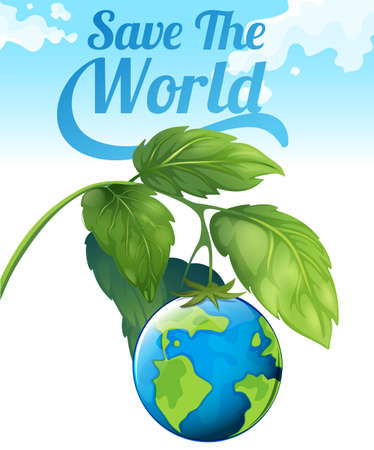 greenhouse effect: Save the world theme with earth and leaves illustration