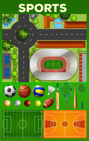 complex: Different kind of sport equipments and courts illustration