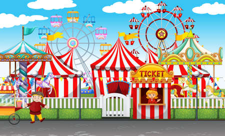 circus ticket: Carnival with many rides and shops illustration Illustration