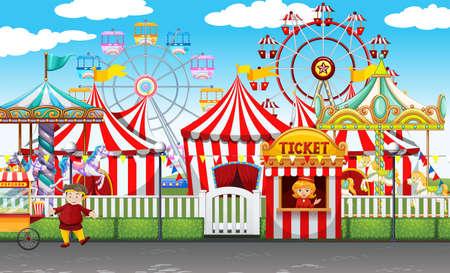 parken: Karneval mit vielen Fahrgeschäften und Geschäften illustration Illustration