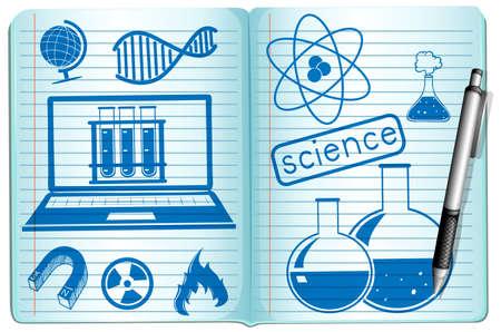 science symbols: Science symbols on the notebook illustration