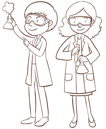 scientist woman: Male and female scientists illustration Illustration